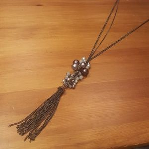 Jewelry - Beaded Silver and Gunmetal Grey Statement Necklace